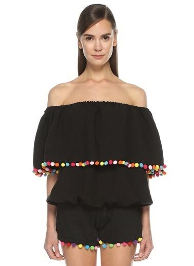 Forte Couture Kayık Yaka Volanlı Bluz Siyah